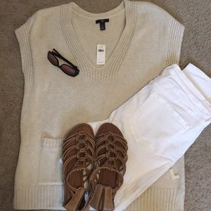 GAP new NWT short sleeve sweater in cream Large